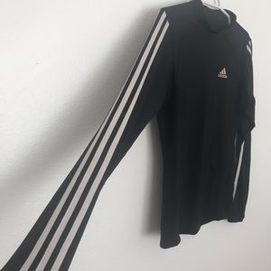 Adidas Mock Neck Three Stripe Long Sleeve Shirt
